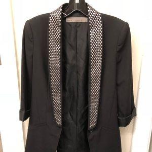 Zara studded lapel black blazer jacket